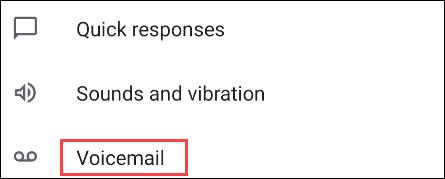 """Desplácese hacia abajo en Configuración y seleccione """"Mensaje de voz."""""""