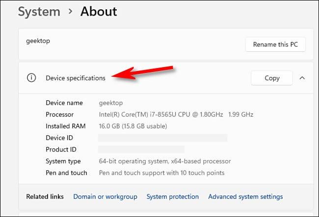 """Para ver las especificaciones de su PC, consulte """"Especificaciones del dispositivo."""""""