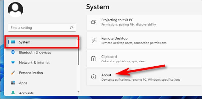 "En Configuración, haga clic en ""Sistema,"" luego ""Sobre."""