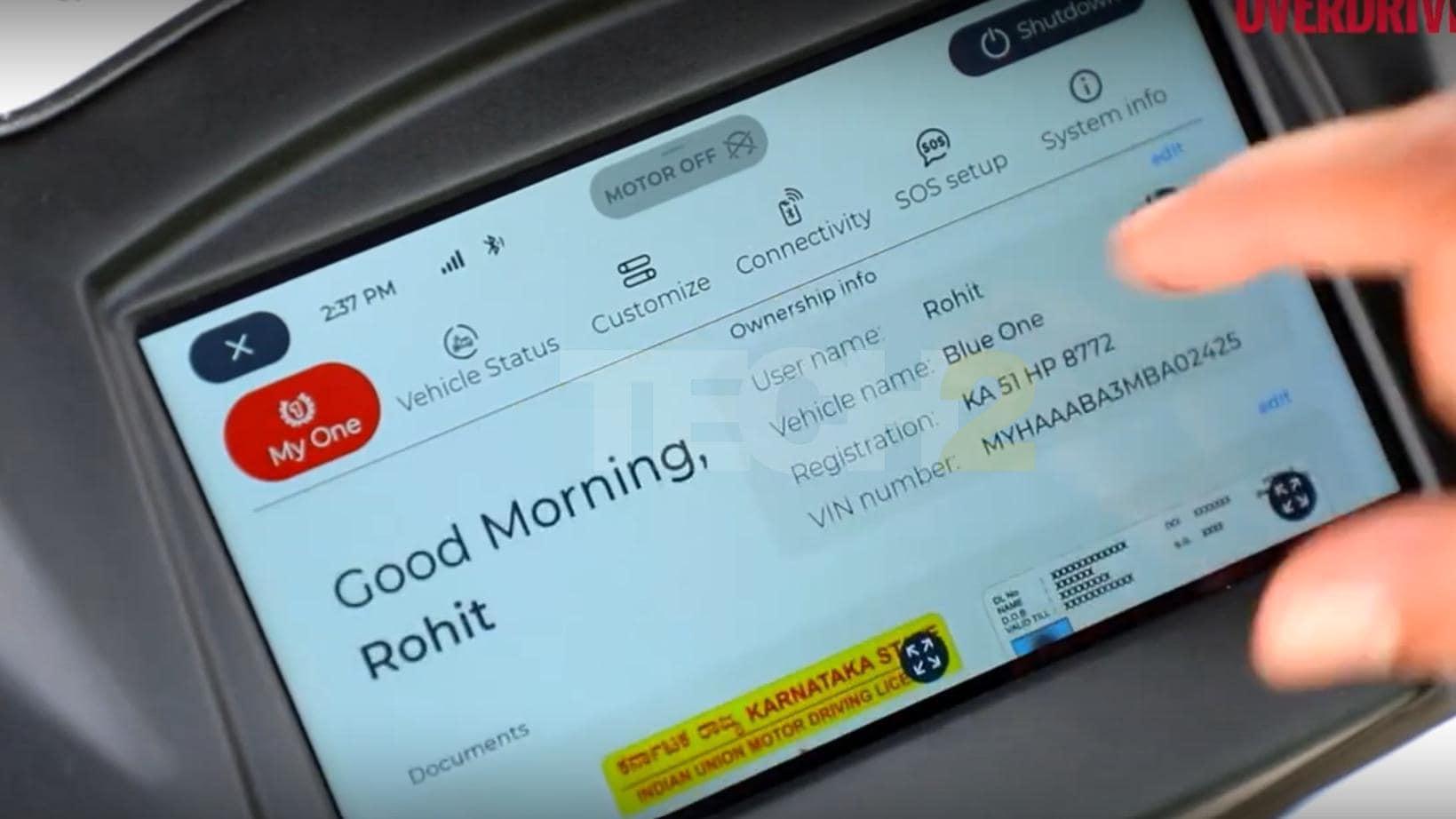 El VIN y el registro en la pantalla del Simple One pertenecen a un Ather 450X.  Imagen: Overdrive