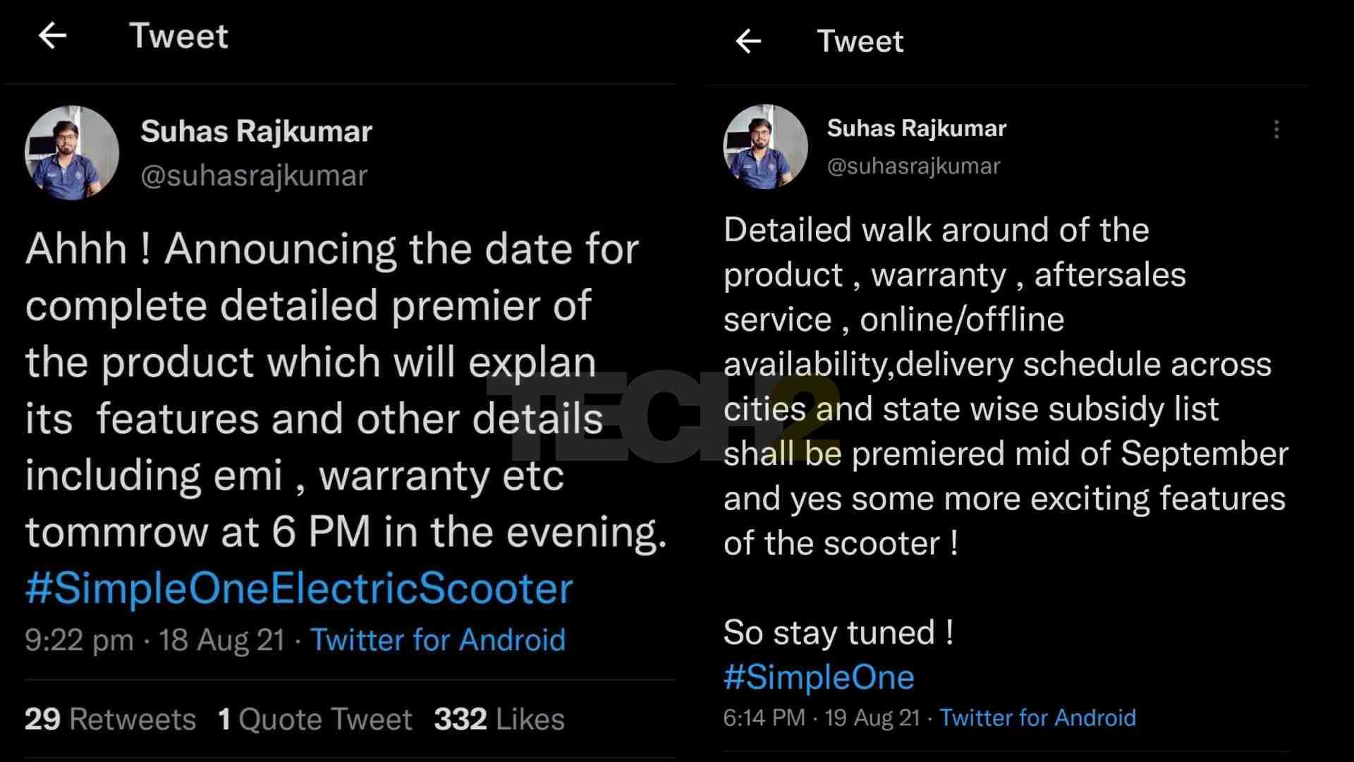 Rajkumar ha eliminado los tweets relacionados con el anuncio de más detalles del Simple One, creando incertidumbre en la mente de los compradores potenciales.