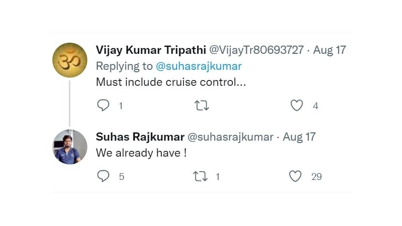 Rajkumar ha asegurado a los clientes que el scooter tendrá control de crucero, pero ahora dice que lo que tiene es