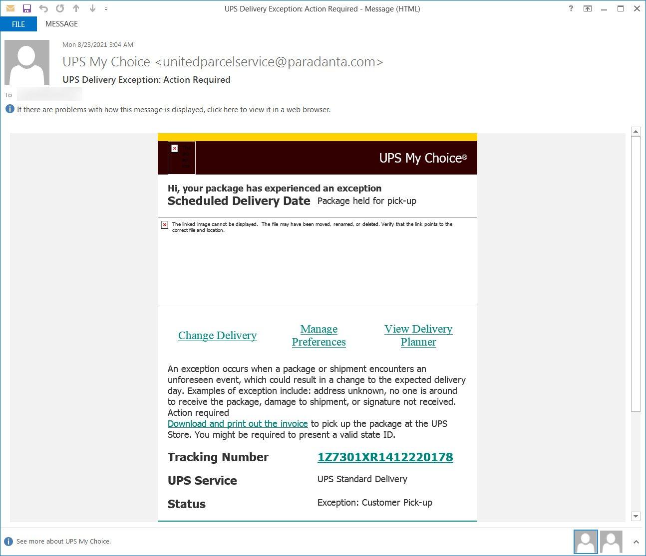 Correo electrónico de suplantación de identidad de UPS