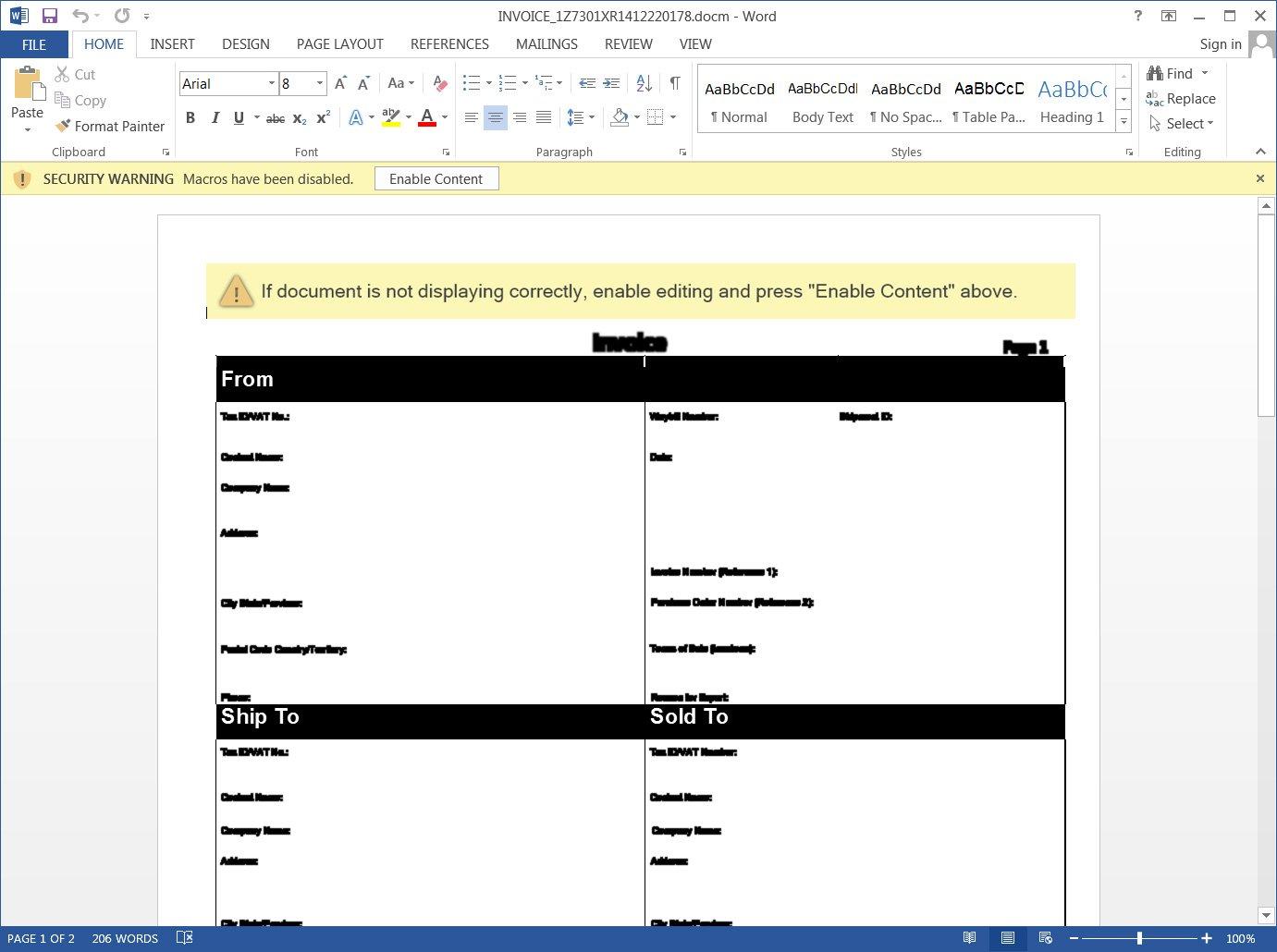 Documento de Word de factura maliciosa