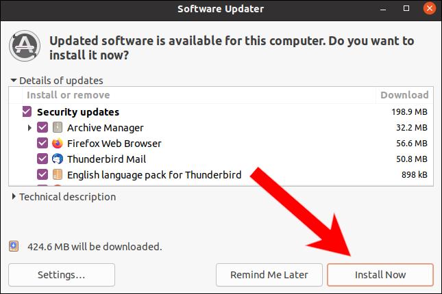 Haga clic en Instalar ahora en el actualizador de software