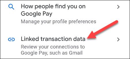 Elija la opción Datos de transacción vinculados