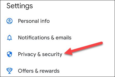 seleccionar privacidad y seguridad