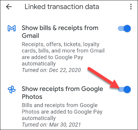 alternar entre gmail y / o fotos de Google