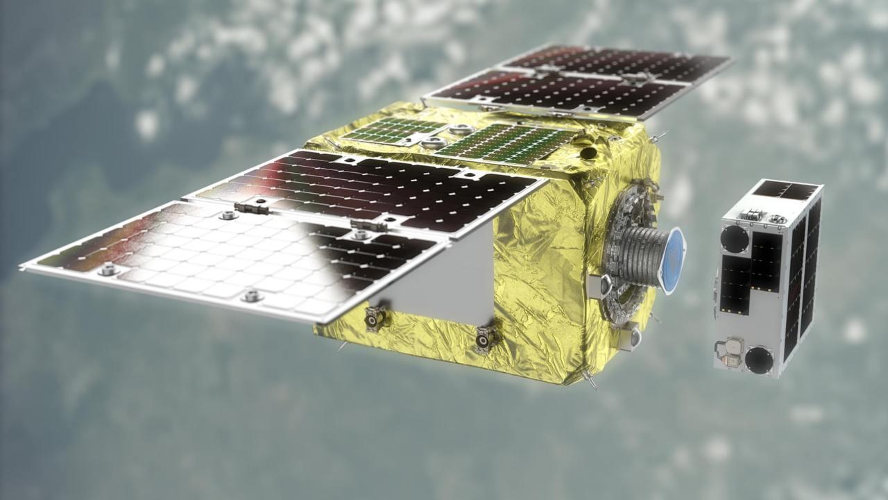 Elsa-d ESA dice que hay aproximadamente 9.200 toneladas de escombros en órbita.  Imagen: Astroscale / PA