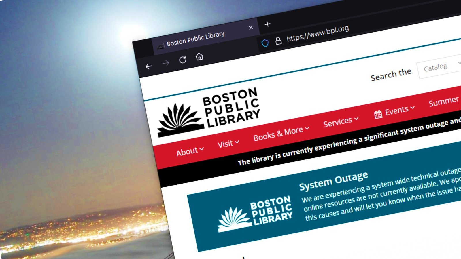 Ciberataque de la avenida de la Biblioteca Pública de Boston, interrupción técnica en todo el sistema