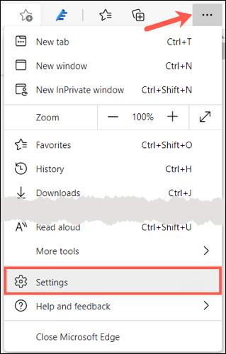 Haga clic en Configuración y más, elija Configuración en Edge