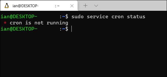 Una ventana de terminal de Windows WSL que muestra que cron no se está ejecutando.