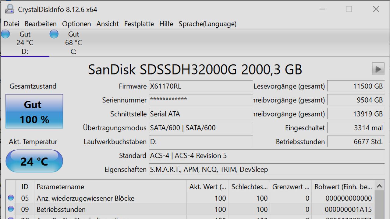 CrystalDiskInfo 8.12.6: Neue Version des Tools mit Optimierungen für SSDs
