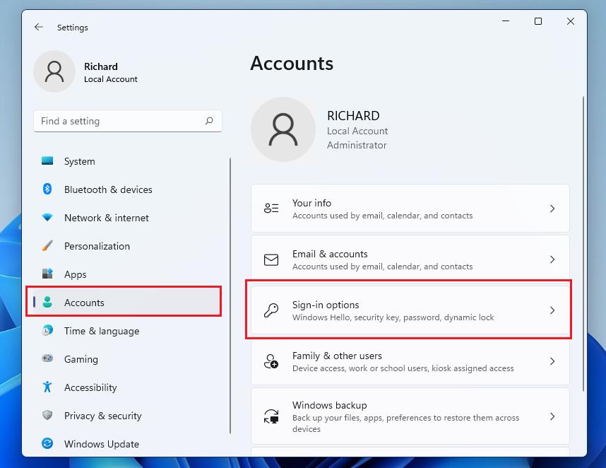 opciones de inicio de sesión de cuentas de windows 11