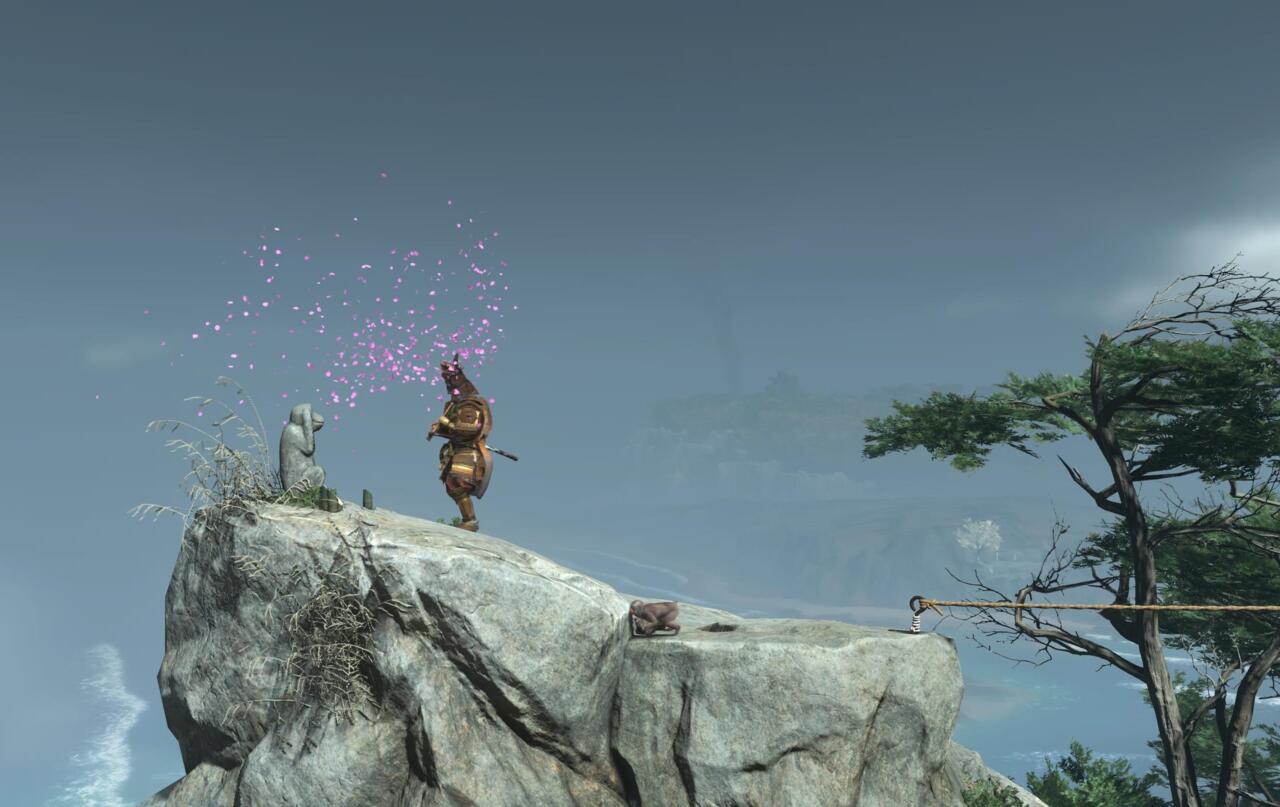 Busque el camino hacia el primer mono inmediatamente a la izquierda de la entrada de la montaña.  Toca tu flauta para que la estatua la active.