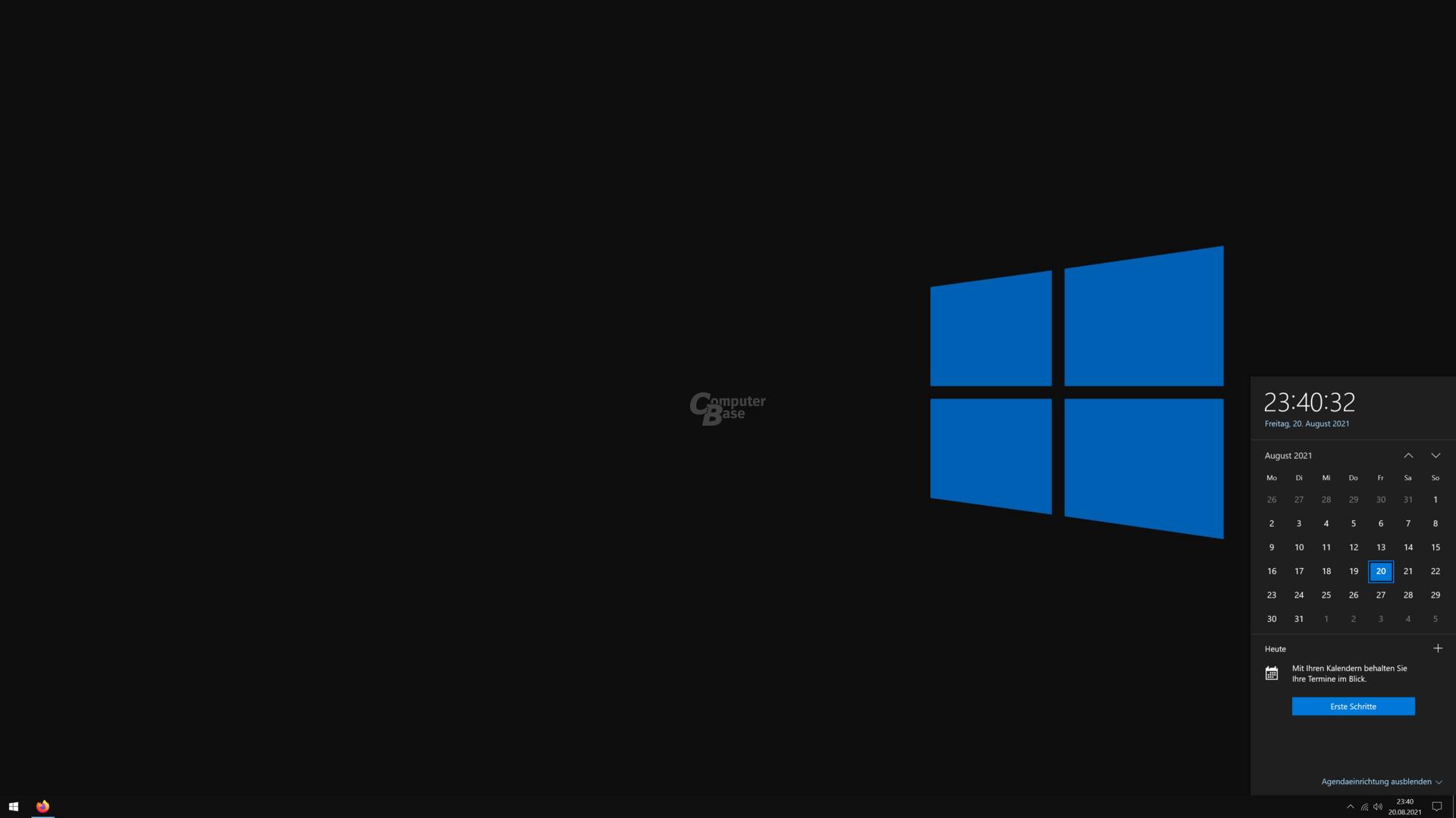El calendario en la bandeja del sistema de Windows 10 muestra citas y eventos