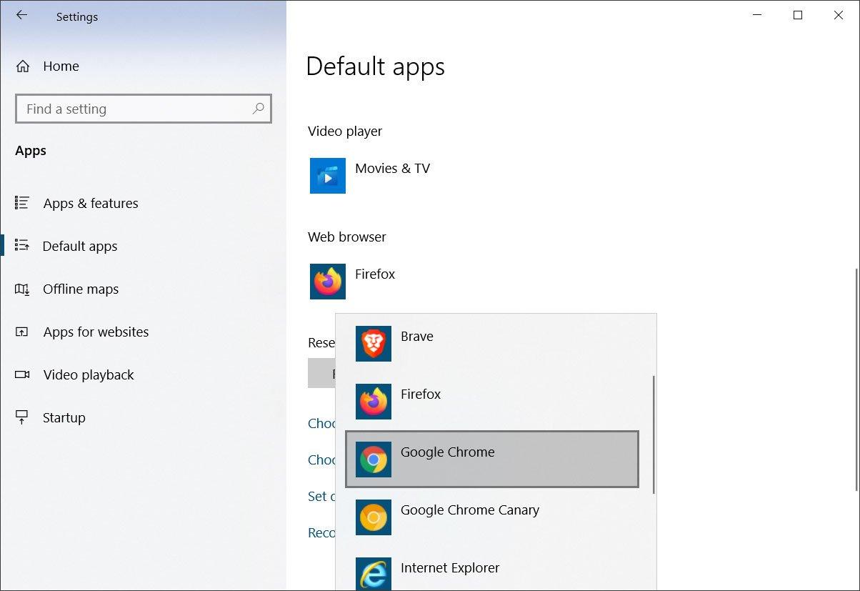 Pantalla de configuración de aplicaciones predeterminadas de Windows 10