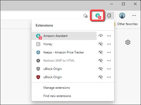 Extensión que se muestra en la barra de herramientas de Microsoft Edge.