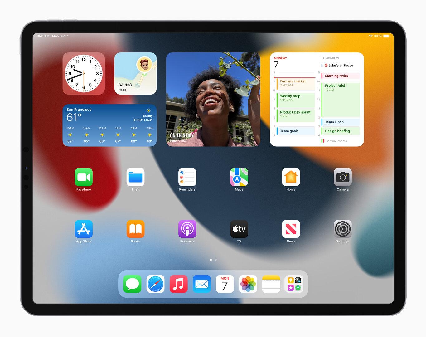 iPadOS 15: pantalla de inicio con widgets