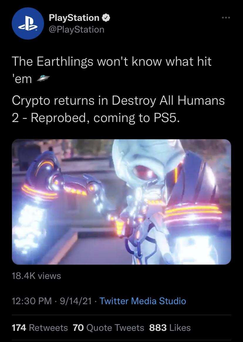 El tweet de PlayStation ahora eliminado que anuncia Destroy All Humans 2: Reprobed