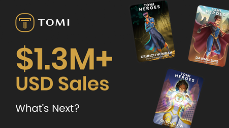 El volumen de ventas de Tomi Heroes NFT acaba de superar los $ 1.35 millones, con un enorme potencial de retorno de la inversión para la venta de TOMI