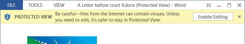 Documento de Word abierto en Vista protegida