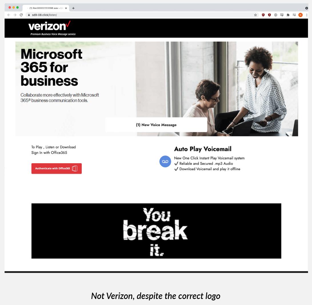 Un sitio clonado de Verizon utilizado como página de phishing de la campaña.