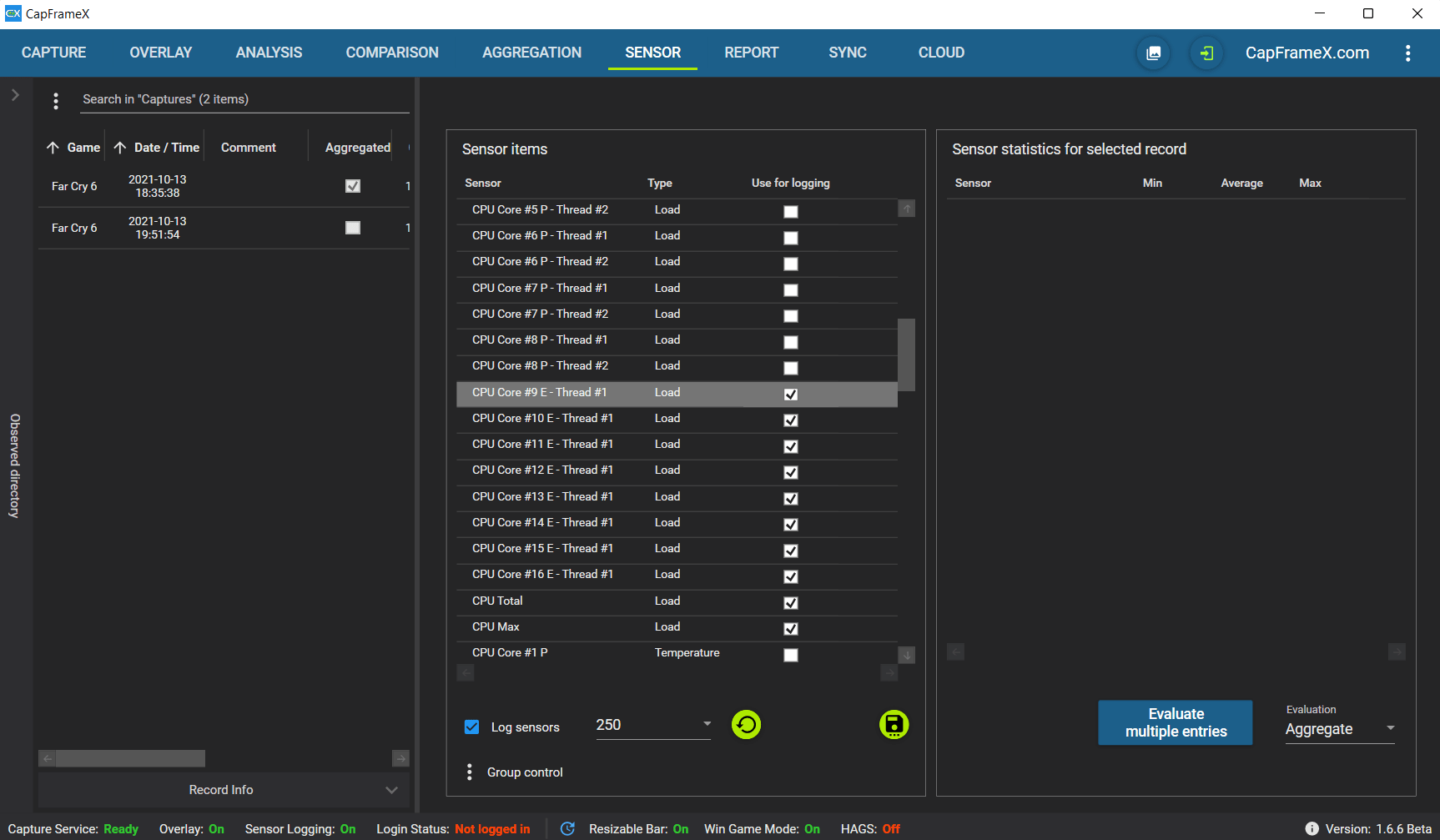 El Intel Core i9-12900K en la pestaña del sensor de CapFrameX 1.6.6 Beta