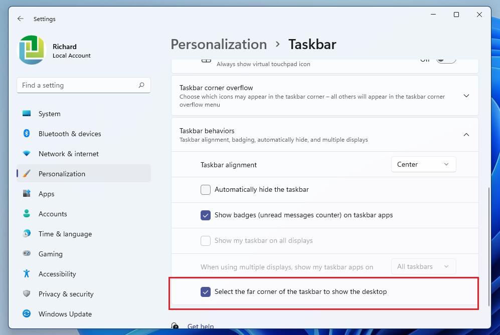 Windows 11 muestra el escritorio desde la barra de tareas habilitado