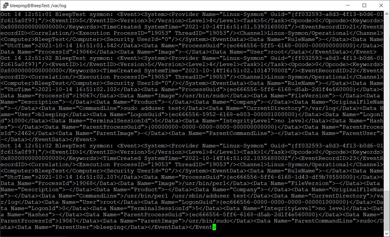 Evensts de Sysmon registrados en / var / log / syslog