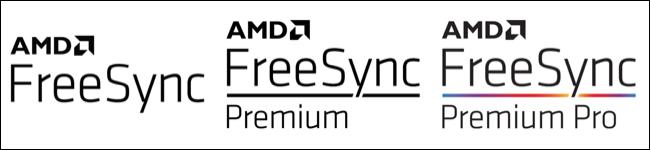 Logotipos de AMD para FreeSync, FreeSync Premium y FreeSync Premium Pro