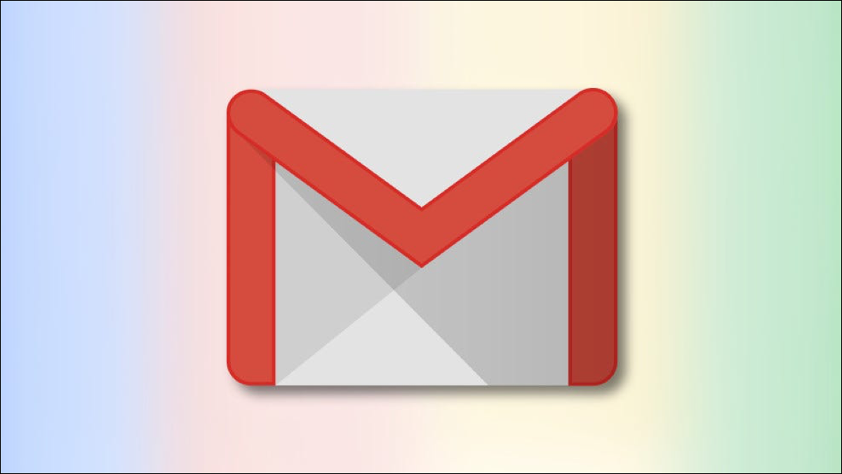 Logotipo de Gmail sobre un fondo degradado multicolor