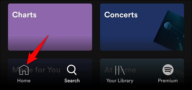 """Grifo """"Hogar"""" en Spotify en dispositivos móviles."""