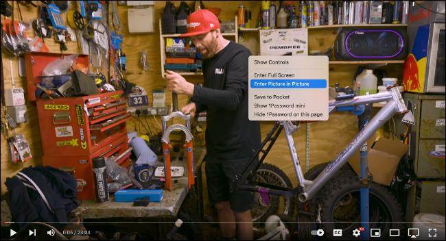 Hacer clic con el botón derecho dos veces en un video de YouTube en Safari para Picture in Picture