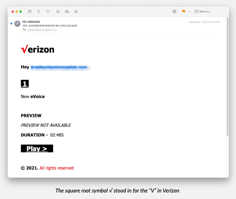 Mensaje de phishing con el símbolo de la raíz cuadrada en el logotipo de Verizon