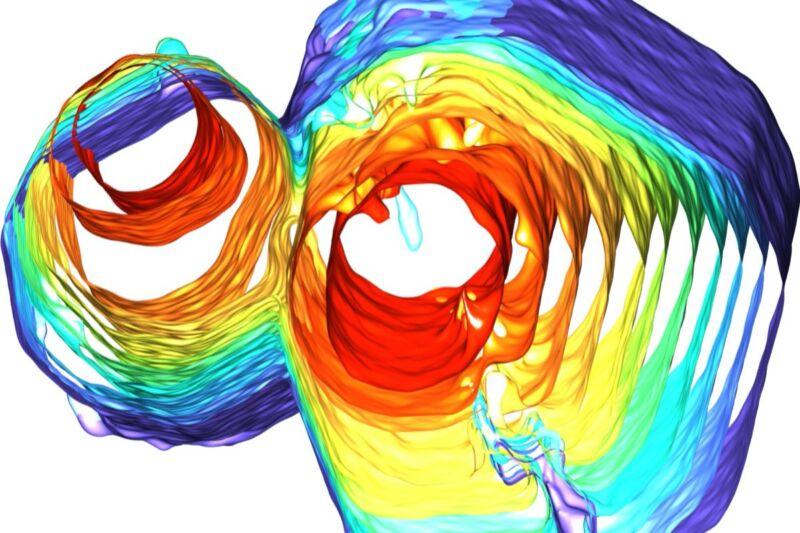 Visualización de tomografía de rayos X que muestra dos cuasicristales a medida que comienzan a fusionarse durante el enfriamiento.  Científicos de la Universidad de Michigan han descubierto que los cuasicristales exhiben un fenómeno de autocuración que podría reducir los defectos.